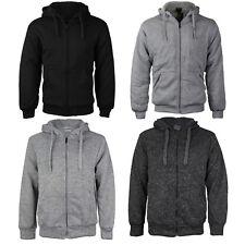 Men's Athletic Warm Soft Sherpa Lined Fleece Zip Up Sweater Jacket Hoodie