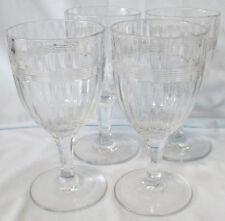 Heisey Banded Flute Water Goblet Stem Set of 3