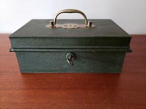 Antique English Toleware Money Box - Secure 2 Lever Lock / Skeleton Key 3 Green