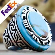 Turkish Handmade 925 Sterling Silver Turquoise Men's Ring Size 7 US Free Resize