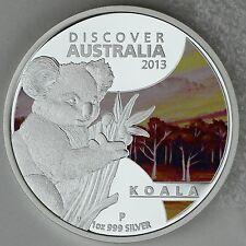 2013 $1 Koala 1oz. 99.9% Pure Silver Color Proof Coin Discover Australia Series