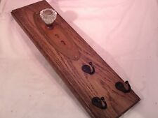 "Antique Door Knob Double Key Plate Solid Oak 3 Key Rack Scarf Rack 20""x 6"" #8"