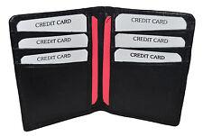 Black Mens GENUINE LEATHER Bifold  Thin Wallet Credit 6 Card Case Front Pocket