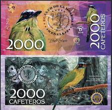 CLUB DE LA MONEDA MEDELLIN 2000 CAFETEROS 2016 POLYMER FANTASY NOTE BIRD- NEW!