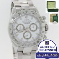 Rolex Daytona Cosmograph 116520 White Steel D Oyster Chronograph Watch w Box E8