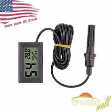 Digital Display LCD Humidity Hygrometer Temperature Thermometer w/ Probe Black