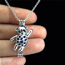 K171 Silver Pearl Bead Cage Skating Animal Bear Locket Necklace Stainless Chain