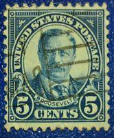 Briefmarke ,USA Theodore Roosevelt 5 Cent Blau, Gestempelt , Rare!!!