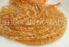 """16"""" strand CITRINE smooth polished gem stone cube beads 4.5mm - 5mm yellow"""