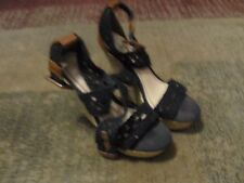 "BAMBOO, WOMEN'S Black Manmade Cloth Straps 5"" Tweed Platform Shoes, Size 6"