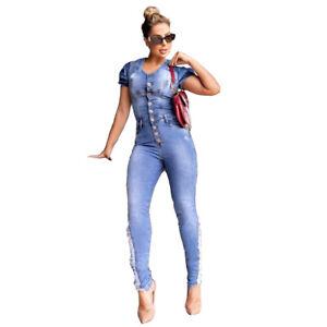 Petalum Damen Jeanslatzhose Lang Jumpsuit Overall Frauen Boyfriend Denim Latzjeans Jeanshose mit Tr/äger
