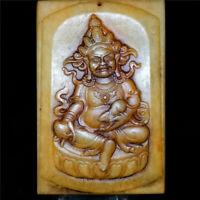 Chinese hard hetian jade Jadeite hand-carved collectibles pendant Buddha AAAAA