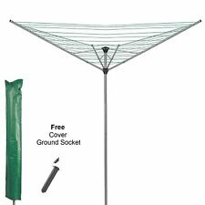 4 ARM HEAVY DUTY ROTARY GARDEN CLOTH DRYER AIRER FREE SPIKE + COVER 40M LINE NEW
