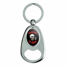 Creepin' It Real Keeping Skull Funny Humor Spinning Oval Bottle Opener Keychain