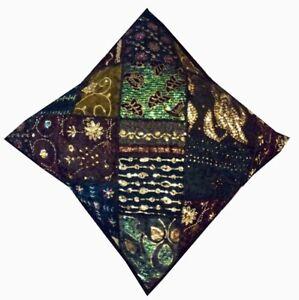 """24"""" BLACK ETHNIC ART DÉCOR SARI BEADED BOHO THROW FLOOR BED CUSHION PILLOW COVER"""