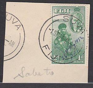 FIJI 1952 2d Health on piece manuscript cancel date / PPS - used at Sabeto..L527
