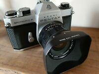 Great Pentax Spotmatic F camera With Takumar 28mm f3.5 lens, hood and cases