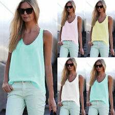 Ärmellose Damenblusen, - tops & -shirts mit U-Ausschnitt aus Polyester