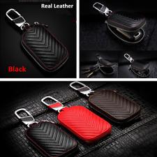 100%Genuine Leather Car Auto Key Bag Holder Men & Women Key Purse Key Case Black