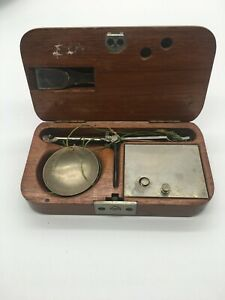 Antique Precious Stone Scale w/weights and tweezers - In Mahogany Wood Case