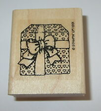 Gift Wrapped Present Rubber Stamp Hearts Bow Stampin' Up! Retired Rare