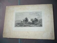 GRAVURE 19° SIECLE UN RENDEZ-VOUS DE CHASSE 1850