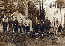10 HUNTERS WINCHESTER RIFLES TENTS HUNTING CAMP PHOTO