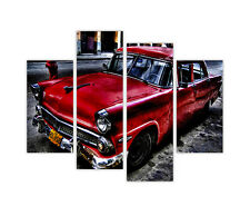 RED VINTAGE PONTIAC CAR PICTURES 4 PIECE FRAMED CANVAS WALL ART PRINT HOME DECO
