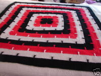 New Heiroon Handcrafted Crochet Afghan Throw Blanket ~ Granny Square Afghan