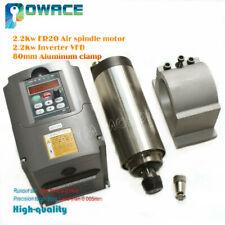 2.2KW ER20 220V Air Cooled Spindle Motor Quality&2.2KW VFD Inverter&80mm Clamp