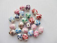 10pz  misti perline ceramica ovale 12x10mm  con fiore colore vari bijoux