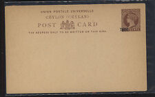 Ceylon  3 cents  revalued  Victoria postal card unused     MS0203