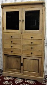 Antique Style Country French Bevel Glass Solid Wood Stripped Cabinet Glass Doors