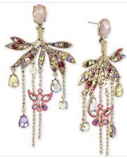 HUGE Betsey Johnson Pink Rhinestone Chandelier Earrings Dragonfly 12l 76