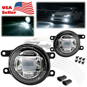 Pair LED Fog Light Clear Projector Lens Replacement For 09-13 Toyota Venza T1