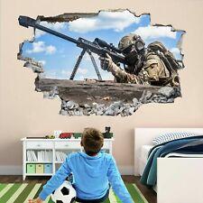 Francotirador Soldado Ejército Militar Guerra Pared Adhesivo Mural Calcomanía Niños Niños Dormitorio CP1