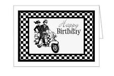 SKA COUPLE ON SCOOTER (TRADITIONAL BLACK AND WHITE)  HAPPY BIRTHDAY  CARD