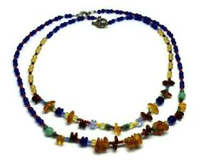 Cobalt Glass Bead Colorful Amber Necklace Set