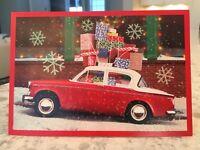 One Vintage Hallmark Nos Glitter Christmas Holidays vtg. Car Boxes Packages Card
