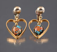 Vintage Gold Flake Earrings with Turquoise Chips Gold Tone Dangle Heart Clip On