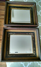 ANTIQUE ARTS & CRAFTS SYTLE FRAMED BEVELED PAIR OF MIRRORS