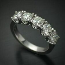 Wedding Band Ring 14k White Gold Over 5 Stone 1.25 Ct Round Diamond Anniversary