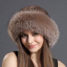 Fox Fur Roller Hat with Mink Top