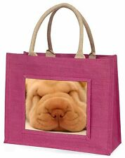 Cute Shar-Pei Puppy Dog Large Pink Shopping Bag Christmas Present Idea, AD-90BLP