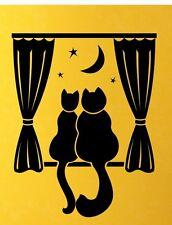 CUTE CATS MOON STARSS Home VINYL DECAL DIE CUT DECOR STICKER