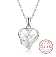 Sterling Silver Rhodium Necklace Opal CZ Stones Open Heart Mom Pendant Gift K69