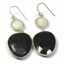 Facinate Black Onyx And White Agate Earrings 925 Sterling silver jewelry