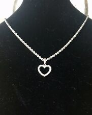 1/2ct Diamond Heart Pendant W/chain Necklace 14 Karat White