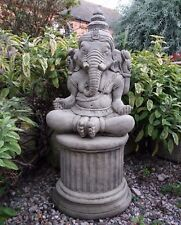 STONE GARDEN LARGE MEDITATING GANESH STATUE ON PLINTH PEDESTAL ELEPHANT  ORNAMENT