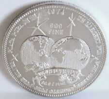 1974 TRADE UNIT DOUBLE GLOBE DATED AT TOP .999 FINE SILVER HIGH RELIEF 1 TROY OZ